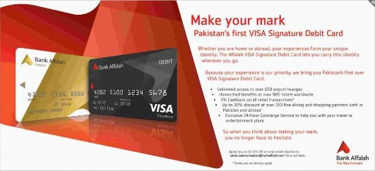 Globe Life And Accident Insurance >> Bank Alfalah Launches Pakistan's First VISA Signature Debit Card! - Smartchoice.pk
