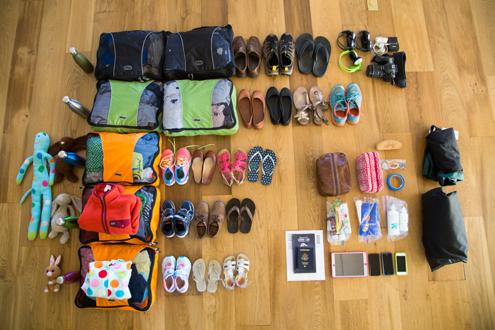 family travel packing